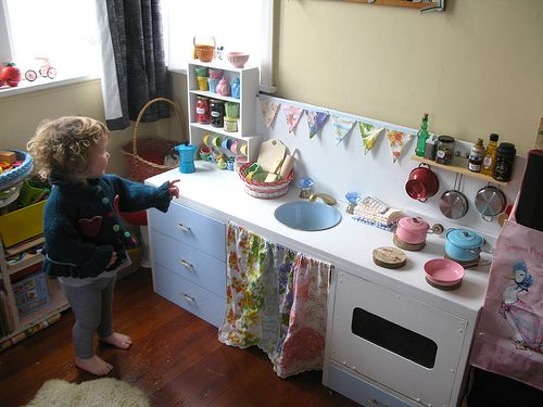 My favorite play kitchen so far! Made from a mid century desk. Click through for more details because they are awesome!
