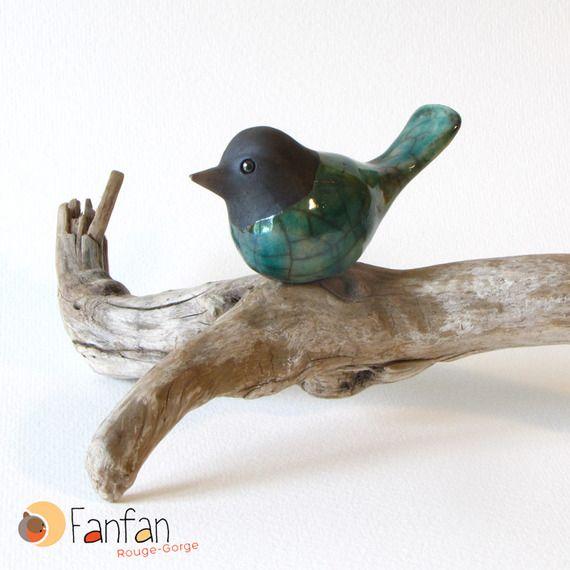 Oiseau Bleu Turquoise en céramique raku
