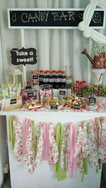 Shabby chic birthday party! See more party planning ideas at CatchMyParty.com!
