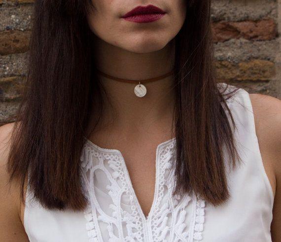 Camel Suede Choker Cord Choker Pendant Choker Pendant Necklace Elegant Necklace Minimal Necklace  for Women Thin Choker