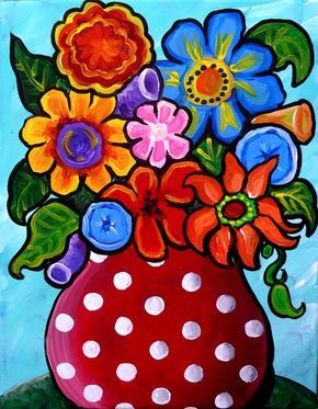 Fun Funky Colorful Flowers  Red White Polka Dots Whimsical Original Folk Art Painting