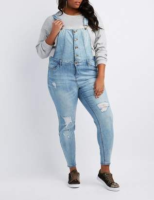 7287ae32cc2 Charlotte Russe Plus Size Dollhouse Destroyed Button-Up Overalls  plus   jeans