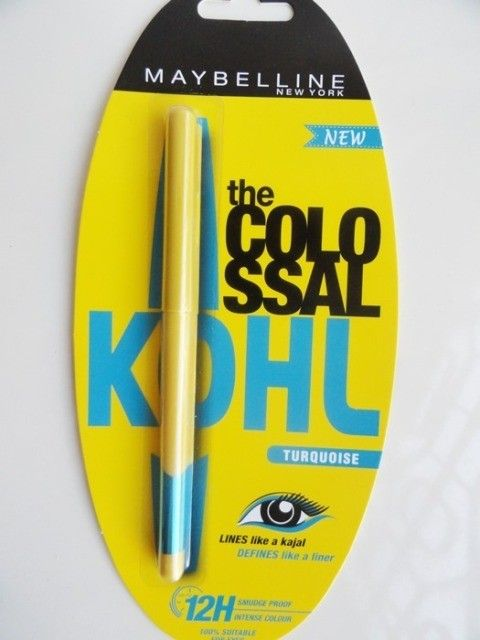 Maybelline, Colossal Kohl, Turquoise, review, smooth texture, affordable, gorgeous color, smudge proof, glides effortlessly, cute packaging