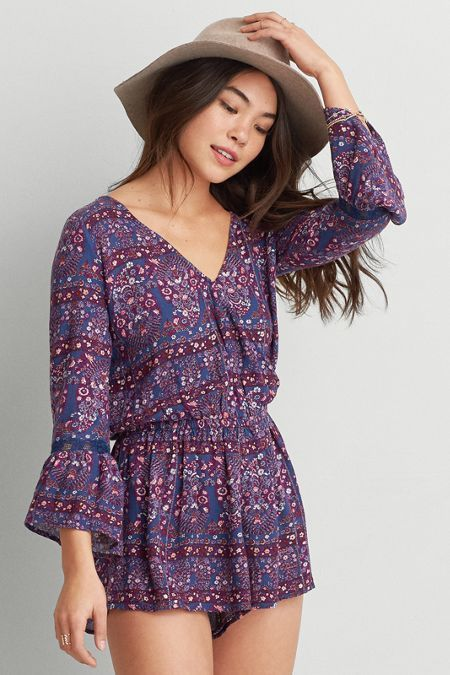 American Eagle Outfitters AEO Bell Sleeve Romper (Jumper)
