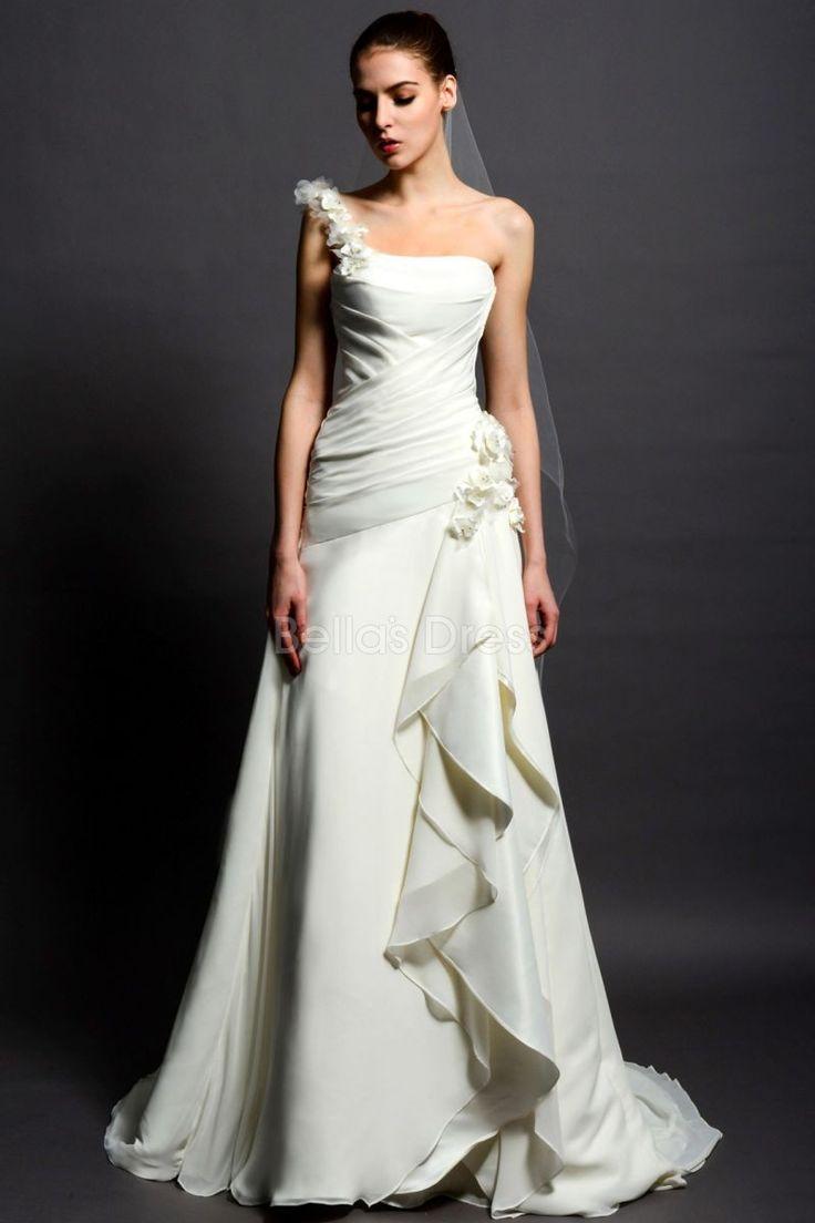 143 best One Strap Wedding Dresses images on Pinterest   Short ...