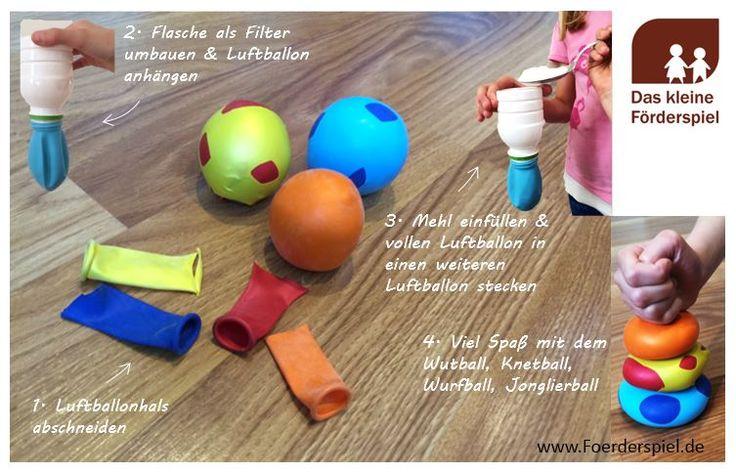 Knetball, Wutball, Wurfball oder Jonglierbälle einfach herstellen. Ihr braucht Luftballons, eine Schere, eine kleine Plastikflasche umgebaut als Filter, einen Löffel und Mehl oder Sand. Und los geht's!