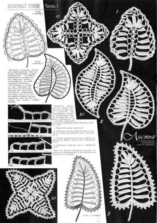 Irish crochet leaf motifs