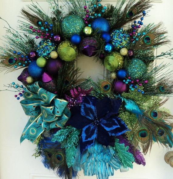 Christmas Peacock Wreath XXL by ViennaSparkleWreaths on Etsy, $229.00