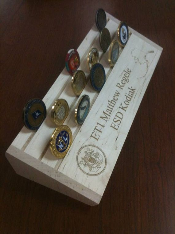 Military challenge coin rack Made to order by AngledAnchor