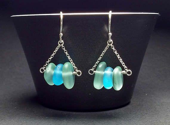 Sea Glass Earrings Sterling Silver, 18K Gold, Sea Glass Jewelry Seafoam Green Earrings, Small Bar Earrings Colourful Earrings Beach Earrings