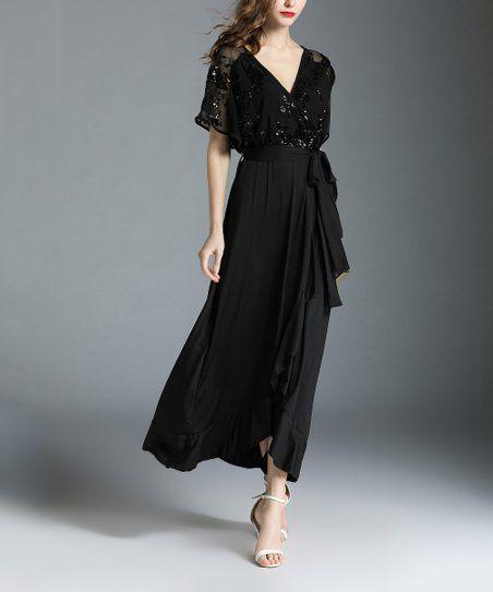9ceeaaf4ecf Vicky and Lucas Black Surplice Tie-Waist Maxi Dress - Women