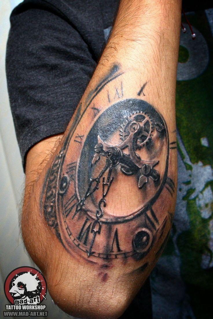 clock tattoo. dial tattoo