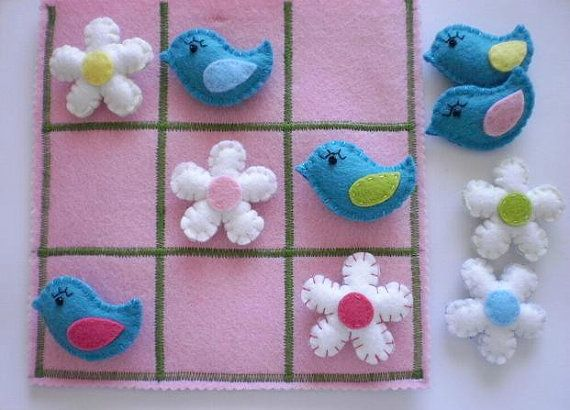 Girls Tic Tac Toe game set - Birds and Flowers - Birthday present for girls - Easter present