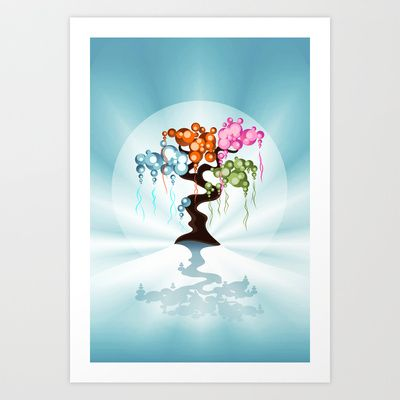 The Four Seasons Bubble Tree Art Print by Ruxique - $14.56