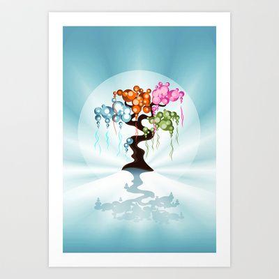 The Four Seasons Bubble Tree Art Print by Ruxique - $14.56