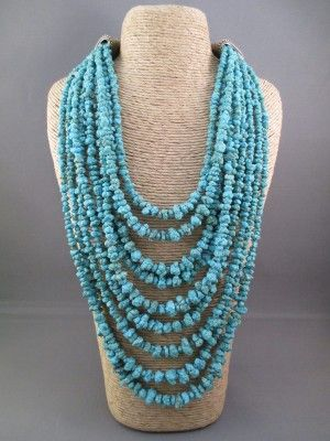 Nine strand necklace of turquoise from the 'Number 8' turquoise mine $2,700