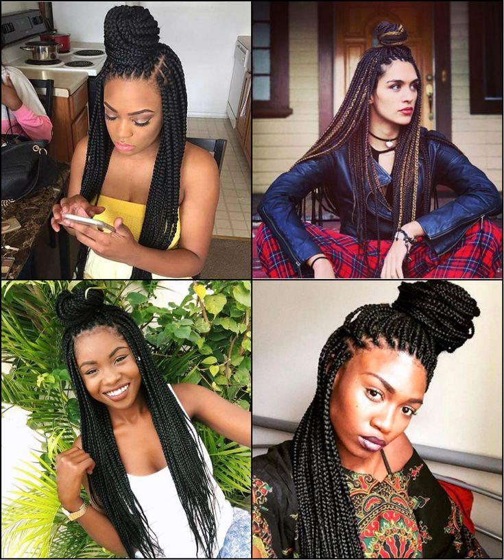 Half Up Half Down Box Braids Bun Hairstyles //  #braids #Down #Hairstyles #half