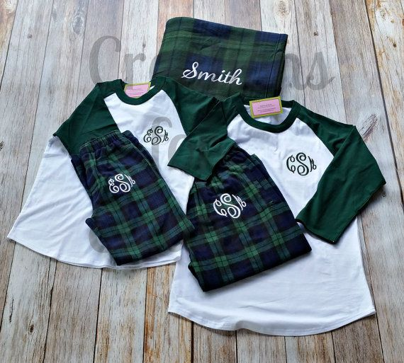 Monogrammed Pajama Set with blanket, Monogrammed Loungewear, Flannel Plaid Lounge Pants, Monogrammed Plaid Pajama Pants and Shirt, Christmas