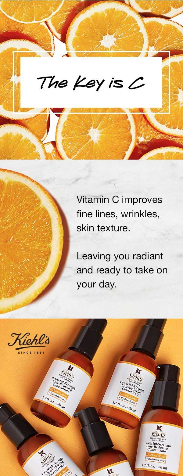 12.5% Vitamin C improves skin texture and fights wrinkles. Kiehl's new and improved Powerful Strength Line Reducing Concentrate has you covered - try it and C!