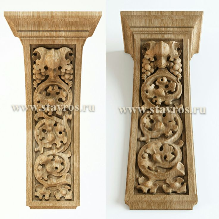 Резной кронштейн из массива дерева в Готическом стиле. Carved wooden bracket made from solid wood in the Gothic style.