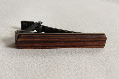 Tie Clip - Round. Lasercut Zebrawood on antique brass hardware with gun metal finish. Made in Canada $50