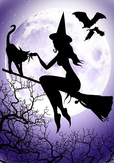 WITCH on a broom with black cat - moon - bats - trees - purple                                                                                                                                                                                 More