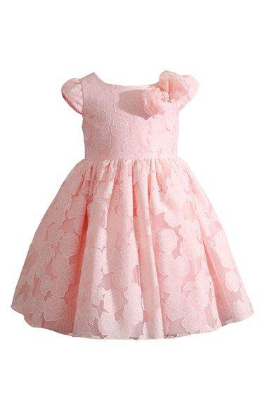 Kleinfeld Pink Burnout Lace Cap Sleeve Dress (Baby Girls) | Nordstrom