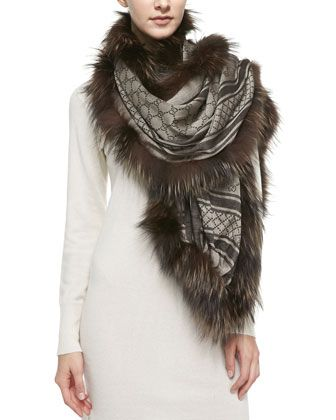 GG+Stole+with+Fox+Fur+Trim,+Brown+by+Gucci+at+Bergdorf+Goodman.
