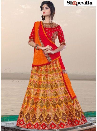 Orange & Red Colour Jacquard Silk Lehenga Choli-6917