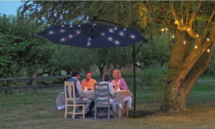 Cantilever Parasol Solar Light System LED Umbrella Garden Patio Outdoor Canopy