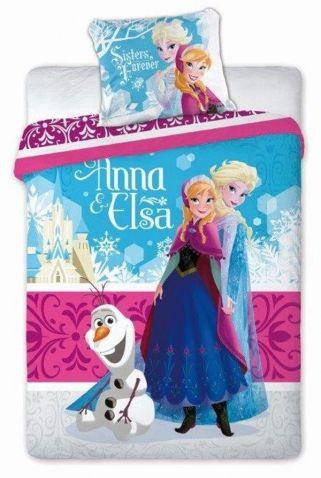 Ledové Království - Ložní souprava, Anna a Elsa. Kvalitní povlečení s oblíbenými postavičkami Anny, Elsy a Olafa z pohádky Frozen.
