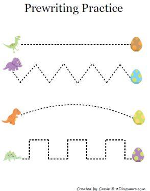 """Activités de pré-écriture inclus dans un """"kit"""" à imprimer sur le thème des dinosaures. Comprend également casse-tête, jeu de mémoire, exercices de discrimination..."""