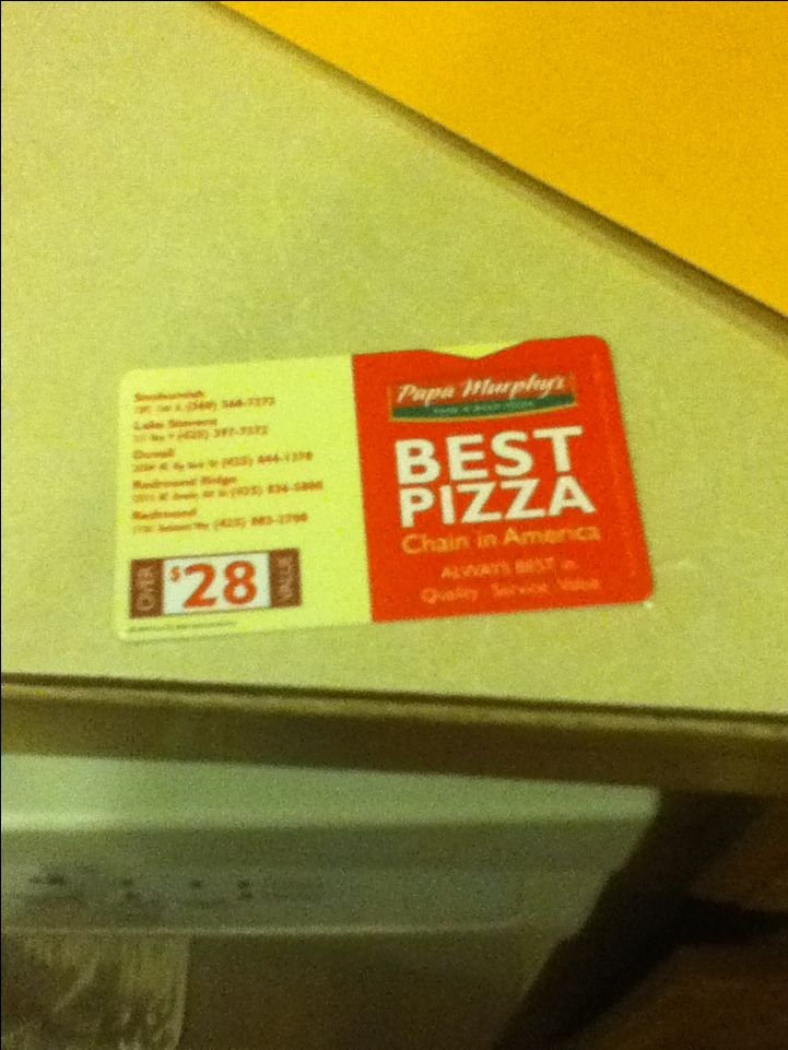 This is a papa Murphy's pizza  coupons this for to help support my cheer team to have good games trophies end of the year party sleep overs we would love it if you got this for 5 dollars or a 5 dollar bill or you can give us as much money as you want and you and the 89er gray team will ask you to buy it or you can ask them if they have any with them and you can buy one, thank you if your supporting!!!! (:   (:   (:   (: