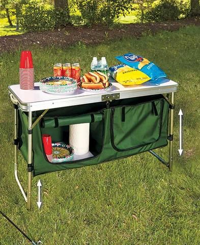 Best 25 camping table ideas on pinterest camping 101 camping portable camping kitchen table prep serve storage adjustable height folds sciox Images