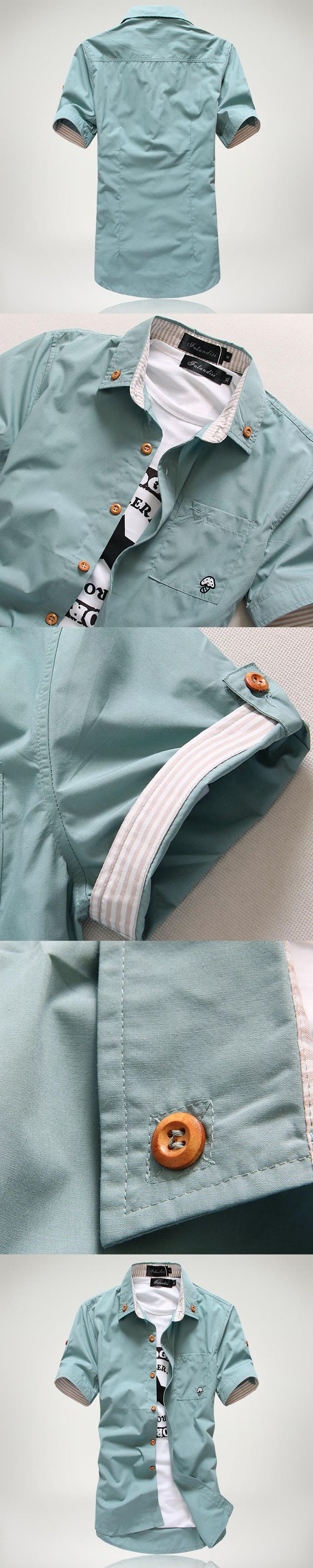 casual men short sleeve shirt polo fashion Mushroom Embroidery slim fit cotton Men's shirts  wear for men shirts