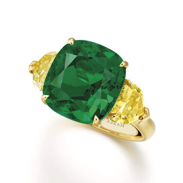 Exceptional 8.62 carat Cushion Cut Colombian Emerald Ring by #ronaldabram