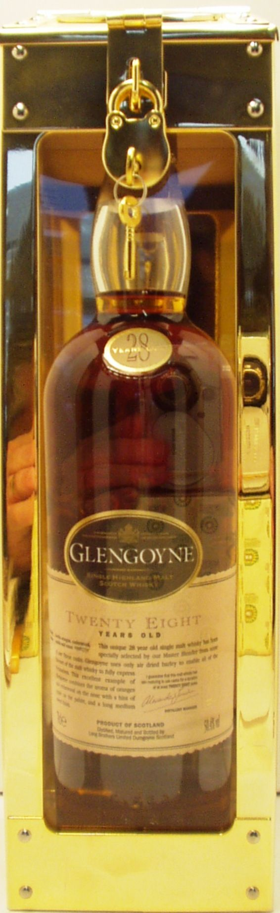 Glengoyne 28 year old Highland Scotch Whisky in a spirit safe style case