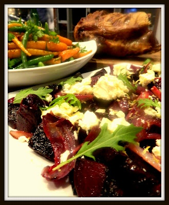 BEETROOT,RED ONION & FETA SALAD....BABY CARROT & BEAN SALAD WITH SUMAC