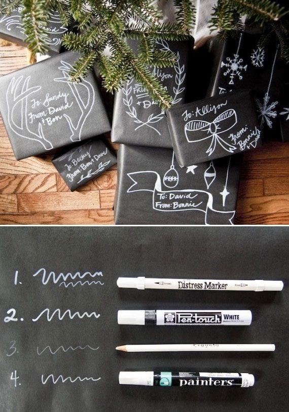 Simples schwarzes Geschenkpapier und weißer Marker! Einfach mal Geschenke außergewöhnlich einpacken.