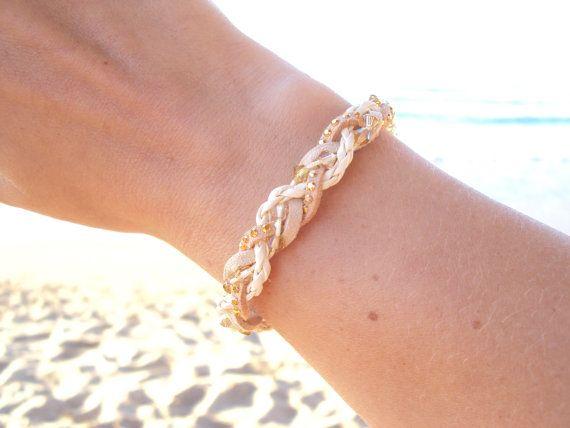 Braided leather bracelet with golden Swarovski crystals