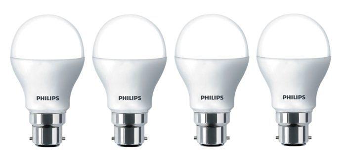 Philips Base B22 9-Watt LED Bulb (Pack of 4) At Rs.571 ( MRP Rs.1000) :http://pickupcoupons.com/philips-base-b22-9-watt-led-bulb-pack-4-rs-571-mrp-rs-1000/