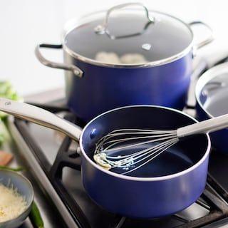 Blue Diamond 10 Piece Enhanced Ceramic Nonstick Cookware Set As Seen On Tv Cookware Set Ceramic Nonstick Cookware Best Kitchen Knives