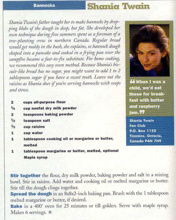 Shania Twain's Bannocks Recipe