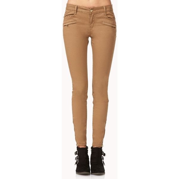 FOREVER 21 Desert Cool Zippered Skinny Jeans ($25) ❤ liked on Polyvore featuring jeans, pants, bottoms, pantalones, tan, tan jeans, zipper jeans, zipper fly jeans, tan skinny jeans and forever 21 skinny jeans