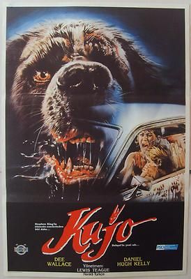 Cujo 1983 Dee Wallace Stephen King Horror Vintage Movie Poster from Turkey