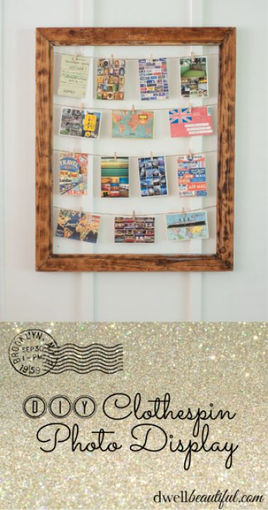 Clothespin Photo Display Frame