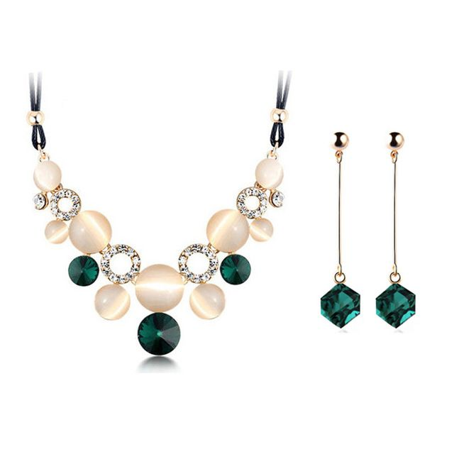 Cristal austríaco prata womens conjunto de jóias de esmeralda casamento jewerly define para mulheres com conjuntos de jóias de safira de africano