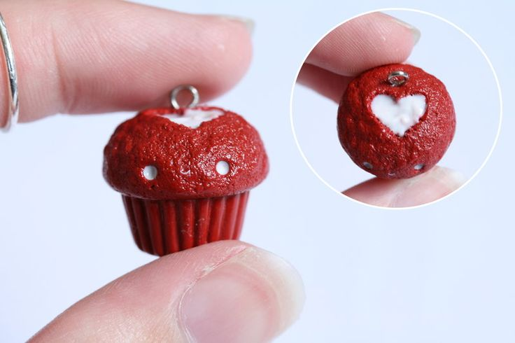 Kawaii Red Velvet Cupcake Charm - Polymer Clay by RawrRufus.deviantart.com on @deviantART
