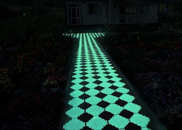 Светящаяся плитка для тротуаров и садовых дорожек.  Краска для бетонных поверхностей - Acmelight Concrete **** Glowing tiles for sidewalks and garden paths. Paint for concrete surfaces - Acmelight Concrete #glowing #tiles #sidewalks #garden #paint #concrete #плитка