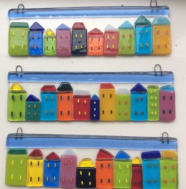 Fused Glass Houses Suncatcher House Summer Street Picture Tile Gift